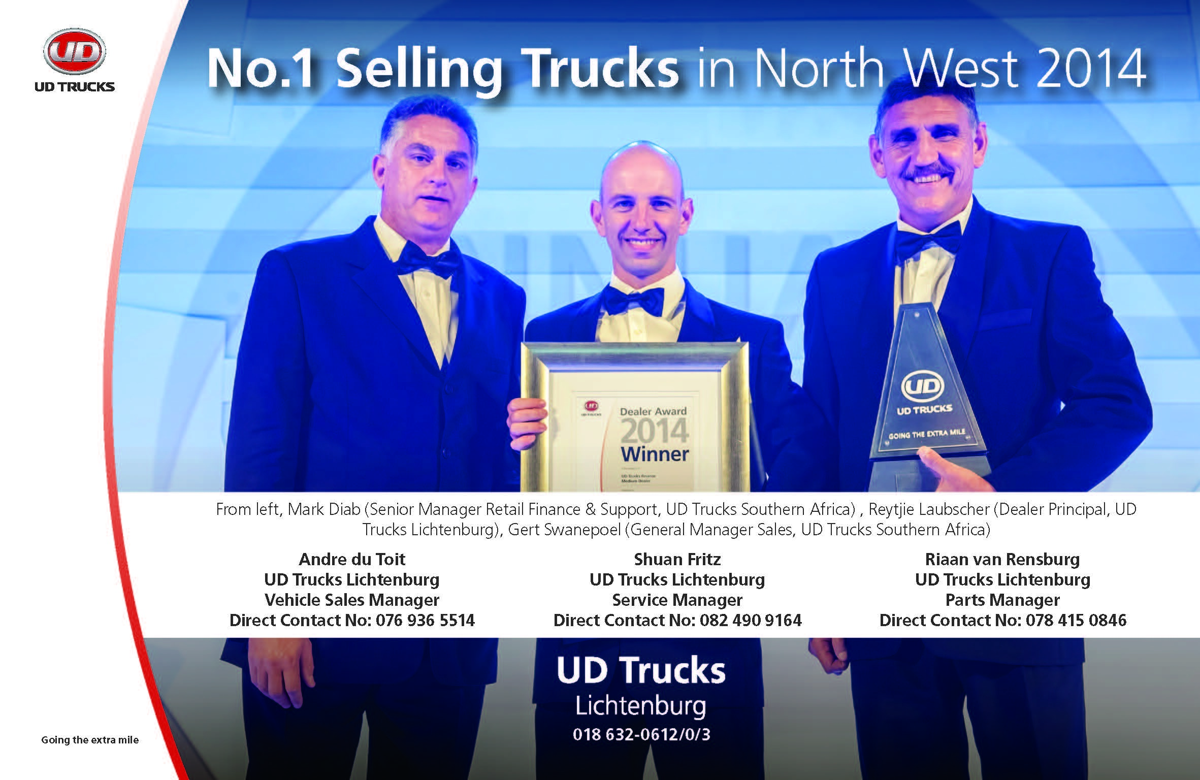 UD Trucks Lichtenburg Shines At Dealer Awards
