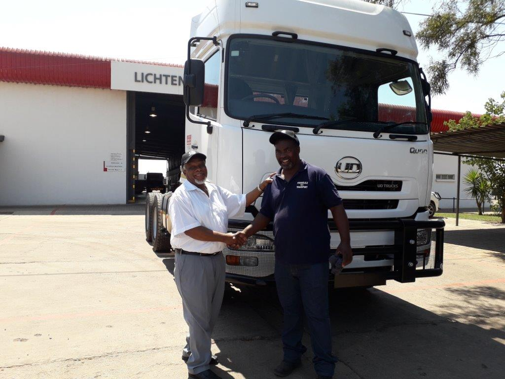A very proud Mr. Mokone from Itshokolele Transport taking delivery of his brand new UD Trucks Quon GW26 450. We thank you for supporting UD Trucks Lichtenburg.